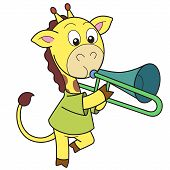 foto of trombone  - Cartoon giraffe playing a trombone - JPG