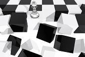 One Pawn On Collapsing Chessboard