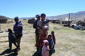 Unidentified family at Sani Pass, Lesotho at altitude of 2 874m