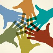 Colorful raised hands. The concept of diversity. Group of hands. Giving concept. This work - eps10 v
