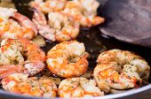 stock photo of crustaceans  - macro photograph of a shrimp and garlic stew - JPG