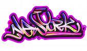 Graffiti vector art urban design element. New York word