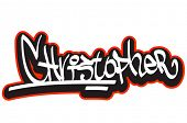 Christopher graffiti font style name. Hip-hop design template for t-shirt, sticker or badge