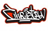 Christian graffiti font style name. Hip-hop design template for t-shirt, sticker or badge