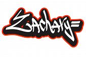 Zachary graffiti font style name. Hip-hop design template for t-shirt, sticker or badge