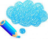 Blue cartoon pencil with doodle cloud