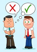 stock photo of tell lies  - Two cartoon businessmen standing together with one of them telling a lie - JPG
