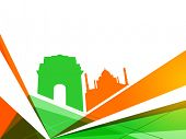 Indian Independence Day colorful background with view of famous monuments India Gate and Taj Mahal.