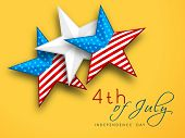 4th of July, American Independence Day concept with stars on yellow background.