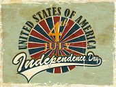 Vintage flyer, poster or background for United Sates America independence day with text 4th July.