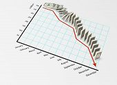 Financial Graph with Dollars Falling like Dominoes - viewed from lower angle