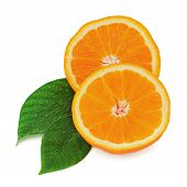 Fresh Orange Fruit With Green Leaves Isolated On White Background.