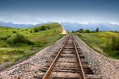 Train track in prairie landscape of Montana