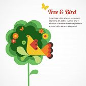 whimsy flower tree and bird