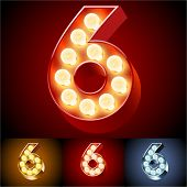 Vector illustration of realistic old lamp alphabet for light board. Red Gold and Silver options. Number 6