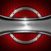 Red And Metal Background With Metal Frame