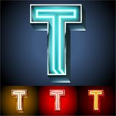 Vector illustration of realistic neon tube alphabet for light board. Gold and Silver and Red options. Letter T
