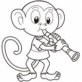 Cartoon Monkey Playing A Clarinet