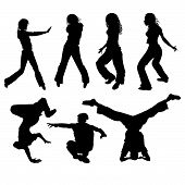 pic of ballet dancer  - Silhouettes of people dancing modern street dances - JPG