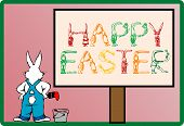 pic of peter cottontail  - Illustration of a cartoon Easter bunny with background - JPG