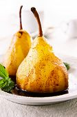 pears poached with chocolate sauce