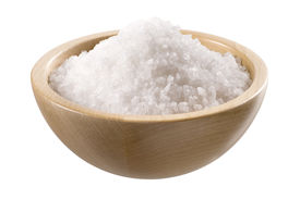 stock photo of crystal salt  - Sea salt in a wooden bowl isolated on white - JPG