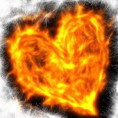 Abstract Flaming Love Heart