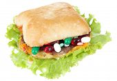 Conceptual image for nutritional care:assorted vitamins and nutritional supplements in bun.Isolated