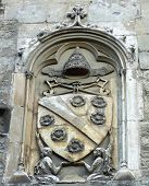 Cote of arms at the facade of Papal Palace in Avignon, France