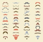 Vector colorful mustache icon set