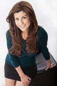Attractive Hispanic Brunette Office Career Woman