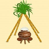 Happy Pongal, harvest festival celebration in South India with pongal rice in a traditional mud pot and sugarcane's on abstract  background.