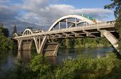 stock photo of rogue  - This is a picture of the Grants Pass Bridge over the Rogue River - JPG