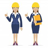 Woman engineer showing thumbs up