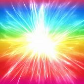 stock photo of starburst  - A colourful abstract rainbow and starburst background illustration - JPG