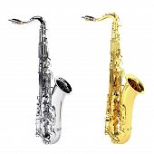 gold copper and silver chrome saxophones