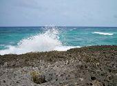 Waves crash on the coral rocks