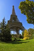 Travel Paris. Park at the foot of the Eiffel Tower. Unexpected angle fisheye lens takes