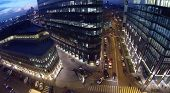 MOSCOW, RUSSIA - NOV 02, 2013: (view from unmanned quadrocopter) White Square Office Center at night