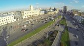 MOSCOW - NOV 09: (view from unmanned quadrocopter) Komsomolskaya Square, on Nov 09, 2013 in Moscow,