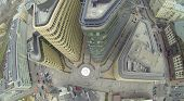 MOSCOW, RUSSIA - NOV 02, 2013: (view from unmanned quadrocopter) Above view of White Square Office C