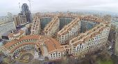 MOSCOW, RUSSIA - NOV 14, 2013: (view from unmanned quadrocopter) Residential complex Italian Quarter