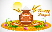 foto of pongal  - illustration of Happy Pongal greeting background - JPG