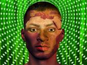 stock photo of superimpose  - African Male with Africa superimposed and binary code - JPG