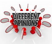 Different Opinions Words Speech Bubbles Argument Dispute