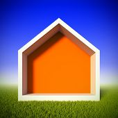 A 3d illustration concept of ecology house at green grass field. House shaped frame for insert anything.