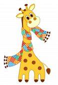 Giraffein in a scarf isolated