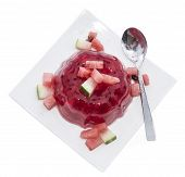 picture of jello  - Watermelon Jello with fresh fruit pieces isolated on white background - JPG
