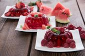 image of jello  - Mixed sorts of red Jello  - JPG