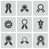 stock photo of rosette  - Vector black award medal icons set on white background - JPG